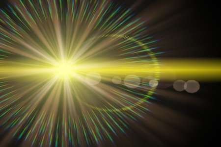 radiant light: Radiant yellow star with splashes of rainbow and light spots. Stock Photo