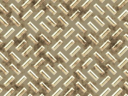 metal surface: The rectangular bulges on a dirty, golden metal surface. Stock Photo
