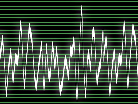 audiowave: Oscilloscope with the image of the white sound waves and green longitudinal lines