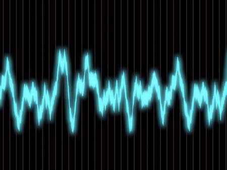 audiowave: Blue waveform on the oscilloscope screen Stock Photo