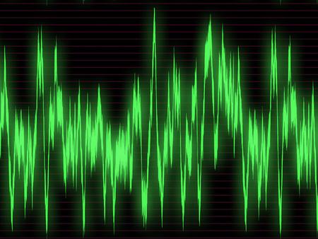 ruido: Grande gráfico verde de las ondas sonoras en el osciloscopio Foto de archivo