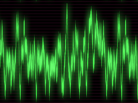 oscilloscope: Large green graph of sound waves on the oscilloscope
