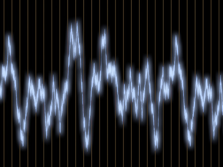 audiowave: White waveform on the oscilloscope screen with a vertical marking Stock Photo