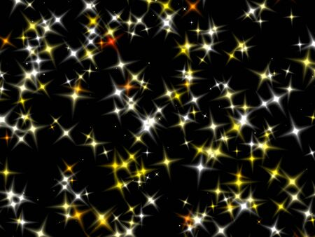 starlit: Yellow and orange star with four rays of light and diffused illumination. Stock Photo