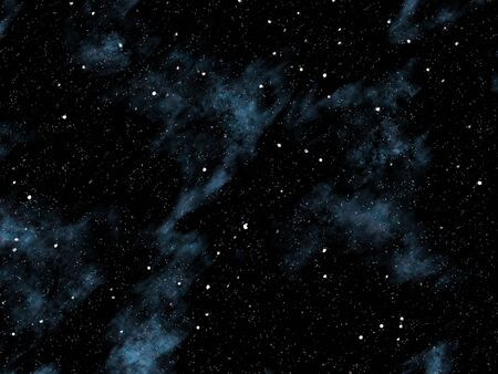 starlit: Small and medium sized stars on the planet cloudy black sky. Stock Photo
