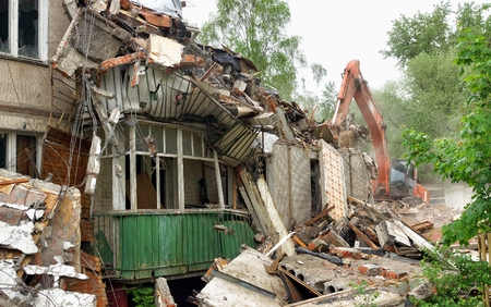 Demolition of an old apartment house.