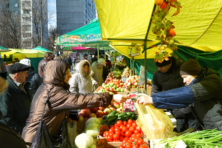 MOSCOW, RUSSIA - April 10, 2018: Street vending vegetables. Market weekend in Moscow.