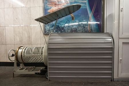 MOSCOW, RUSSIA - April 01, 2018: The device for checking baggage for radioactive contamination. The functioning of the subway in Moscow.