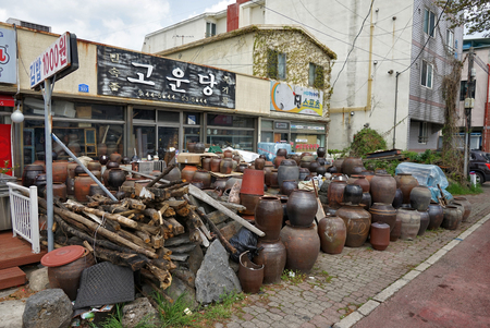 Jeju island, South Korea - April 2018: Shop of traditional clay pots  in Jeju.
