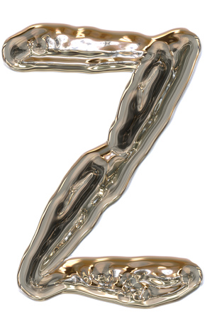 Z letter of the alphabet, made of liquid metal. Stock Photo