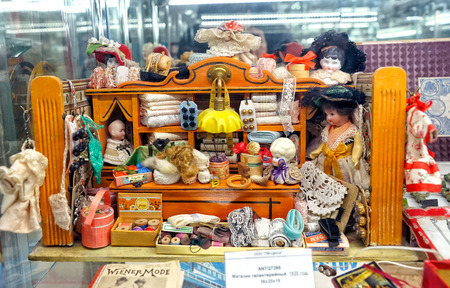 MOSCOW - MARCH, 2018: Miniature haberdashery shop. Showcase with old toys in a retro toy store.