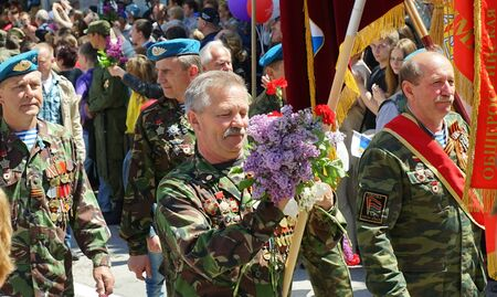 SEVASTOPOL, RUSSIA: - MAY 9, 2015: Military in the ranks on Victory parade. The celebration of 70 anniversary of Victory in the Great Patriotic War. Editorial