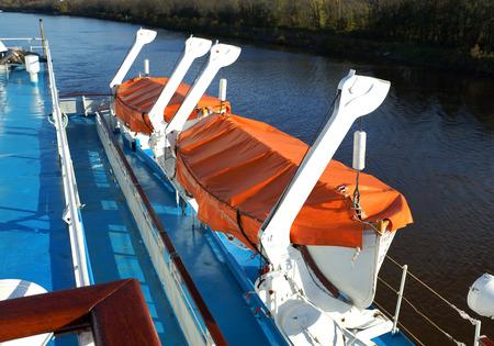 Lifeboat on the ship. Standard-Bild