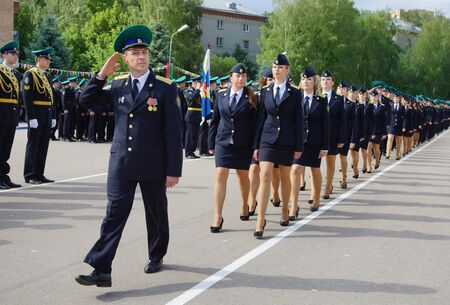 MOSCOW, RUSSIA - June, 2014: Military women in uniformed march martial. Military parade in Moscow. Editorial