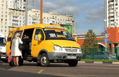 Moscow - January 2016: Minibus, fixed-route taxi on a city street. Editorial