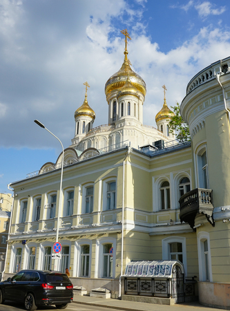 Moscow, Russia, June - 2019: Sretensky Male Monastery, the dome of the temple of the New Martyrs and Confessors of Russia.