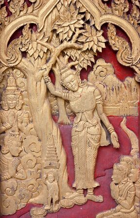 The wood carvings of the Buddhist religion  photo