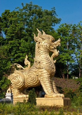 The sculpture of Singha  lion  in a temple in the northern of Thailand  photo