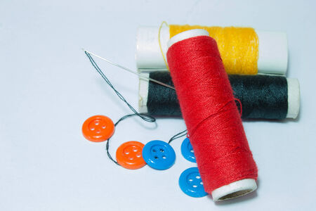 sewing supplies: Sewing supplies on white back ground Stock Photo