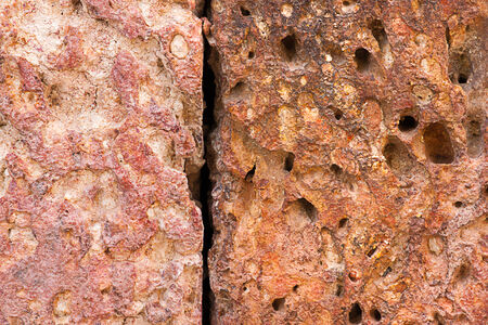 spongy: Texture of brown stone that looks spongy. Stock Photo