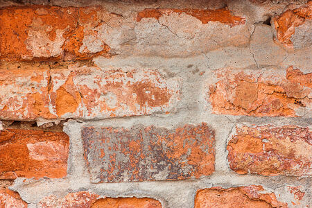 Close up background texture of old brick wall was damaged. photo