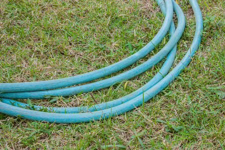 Rubber tube for watering plants in the garden. photo