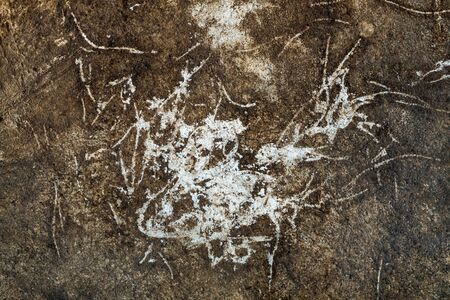 cracked cement: The old cracked cement and dirt and corrosion