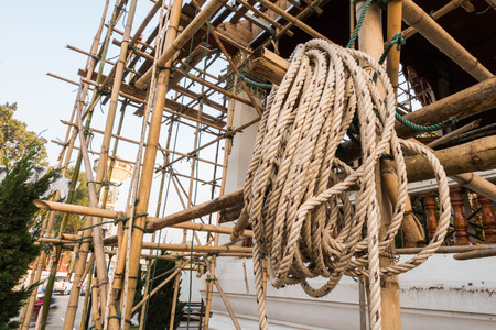 gibbet: Rope hanging on a construction site.