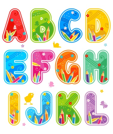 Colorful decorated spring, summer or school alphabet set, part 1 (of 3), letters A - L, with design elements Illustration