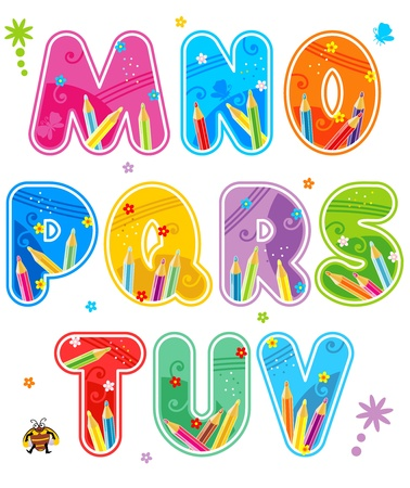 Colorful decorated spring, summer or school alphabet set, part 2 (of 3), letters M - V, with design elements Illustration