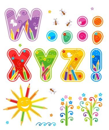Kleurrijk versierde lente, zomer of school alfabet set, deel 3 (van 3), letters W - Z, markeert van interpunctie, met design-elementen