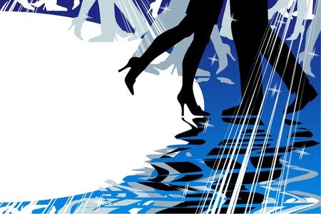 Dansen en muziek retro stijl achtergrond met kopie ruimte Stock Illustratie