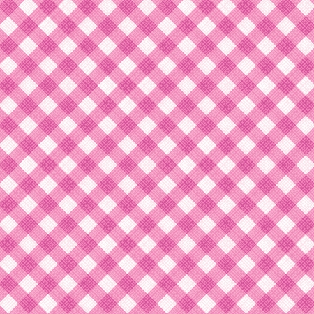 Pink and white gingham cloth background with fabric texture, suitable for Valentine s Day and wedding designs, plus seamless pattern included in swatch palette Vector