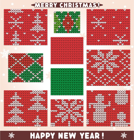 Set of 10 seamless knitted patterns for Christmas, winter and New Year designs and projects.  Vector