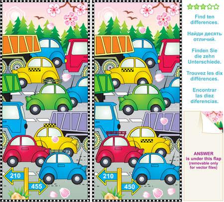 수수께끼: 봄 또는 여름 교통 체증은 차이의 그림 퍼즐을 찾아 일러스트