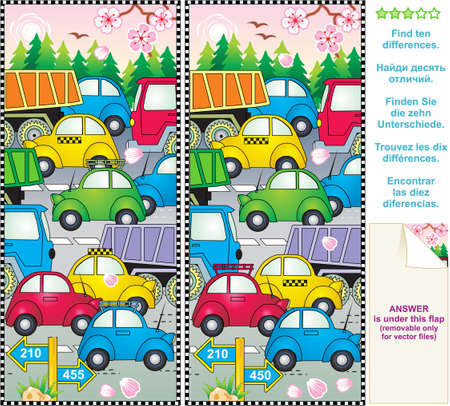 spot the difference: Spring or summer traffic jam find the differences picture puzzle