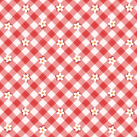 picnic tablecloth: Red and white floral gingham cloth background with fabric texture, plus seamless pattern included in swatch palette, pattern fill expanded