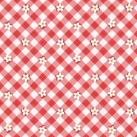 Rode en witte bloemen gingham doek achtergrond met stof textuur, plus naadloze patroon in palet met stalen, patroonvulling uitgebreid Stock Illustratie