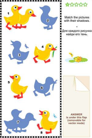 Visual puzzle or picture riddle for kids  Match the pictures of cute ducklings to their shadows  Answer included  Stock Vector - 18085698