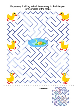 Maze spel voor kinderen Hulp ieder eendje zijn eigen weg naar de kleine vijver te vinden in het midden van het doolhof Antwoord inbegrepen