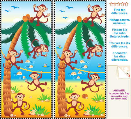 Visual puzzle  Find the ten differences between the two pictures - monkeys, beach, coconut palm
