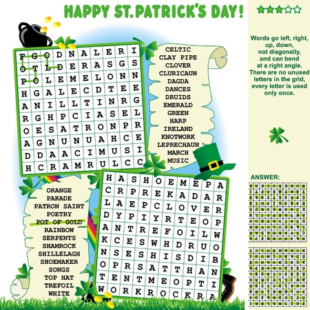 St  Patrick s Day zigzag word search puzzle, answer included