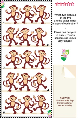 Picture riddle or visual puzzle  Which two pictures of walking monkeys are exact mirror images of each other  Answer included  Vector