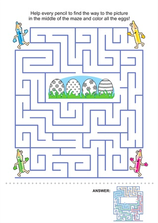Easter maze game and coloring activity page for kids: Help the pencils to get to the picture in the middle and color the eggs! Answer included. Vector
