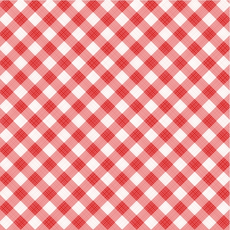 Red and white gingham cloth background with fabric texture, suitable for Mother s Day designs, plus seamless pattern included in swatch palette, pattern fill expanded Illustration