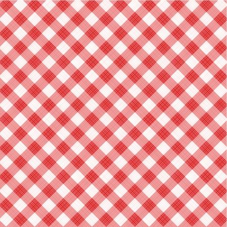 Rode en witte gingham doek achtergrond met stof textuur, geschikt voor Moederdag s ontwerpen, plus naadloze patroon in palet met stalen, patroonvulling uitgebreid Stock Illustratie