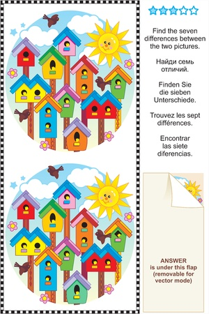 Picture puzzle  Find the seven differences between the two pictures of colorful spring birdhouses  Answer included