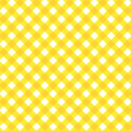 Yellow and white gingham cloth background with fabric texture, suitable for spring, summer, Easter, birthday and other designs, plus seamless pattern included in swatch palette, pattern fill expanded Illustration