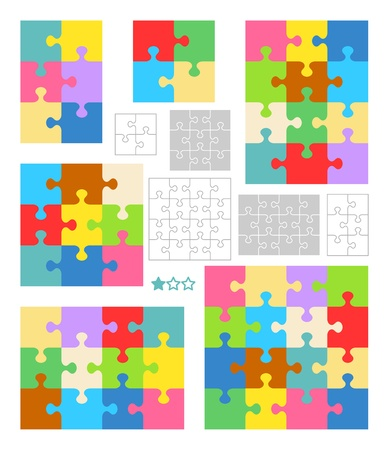 Jigsaw puzzles 2x2, 2x3, 3x3, 3x4 and 4x4 blank templates (cutting guidelines) and colorful patterns Illustration