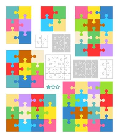piezas de rompecabezas: Los rompecabezas de 2x2, 2x3, 3x4 3x3, 4x4 y plantillas en blanco (corte directrices) y patrones de colores